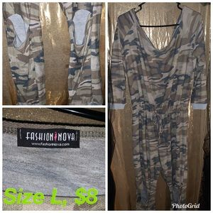 Fashion Nova army fatigue  long sleeve jumpsuit.